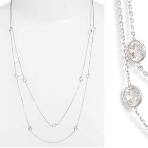Nordstrom Bezel Stone Long Necklace